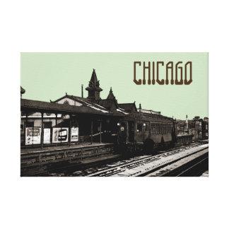 Impressão Em Tela Chicago L metro 1950 da fotografia do Sepia da