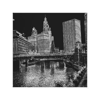 Impressão Em Tela Chicago River Wrigley 1967 que constrói Sun
