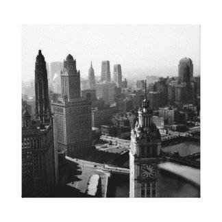 Impressão Em Tela Chicago Skyline1930 de cima da fotografia da vista