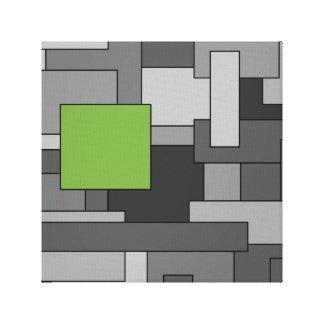 Impressão Em Tela Cinzento e claro - arte abstracta geométrica verde