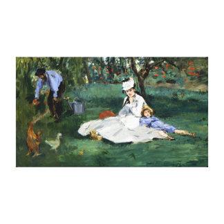 Impressão Em Tela Claude Monet a família de Monet em seu jardim