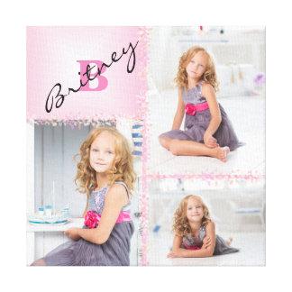Impressão Em Tela Colagem da foto do monograma das meninas