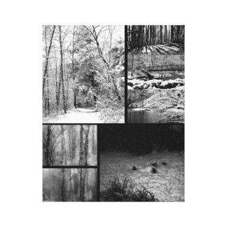 Impressão Em Tela Colagem da paisagem do inverno da natureza da