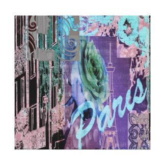 Impressão Em Tela Colagem floral de Paris no rosa e no Aqua