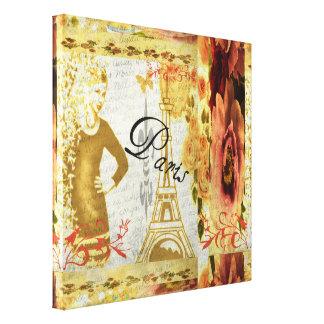 Impressão Em Tela Colagem floral de Paris no rosa e no ouro
