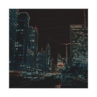 Impressão Em Tela Colorido de néon da noite 1967 da avenida de