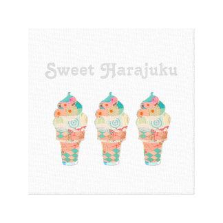 Impressão Em Tela Cone do rosa do sorvete do creme do arco-íris