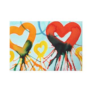 Impressão Em Tela Corações da cor