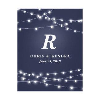 Impressão Em Tela Corda do dia do casamento personalizado monograma