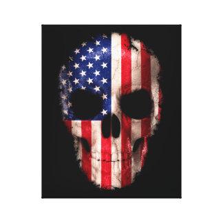 Impressão Em Tela Crânio imprimido da bandeira americana