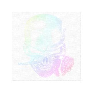 Impressão Em Tela Crânio Pastel e arte cor-de-rosa da parede