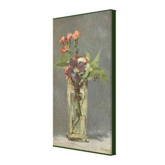 Impressão Em Tela Cravos e Clematis em um vaso de cristal por Manet