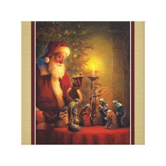 Impressão Em Tela Criança do cristo da natividade de Papai Noel no
