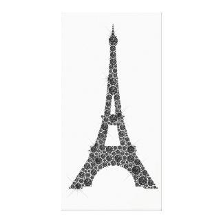 Impressão Em Tela Cristal branco preto de Paris do francês da torre