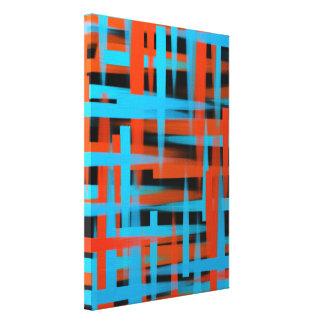 Impressão Em Tela Cursos abstratos da escova do óleo em alaranjado e