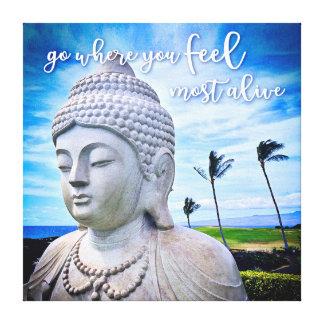 """Impressão Em Tela Da """"foto branca de Havaí Buddha"""" das citações as"""