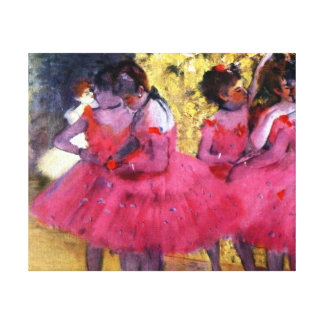 Impressão Em Tela Dançarinos de Edgar Degas no rosa