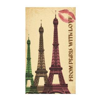 Impressão Em Tela De Paris com beijo da torre Eiffel do amor