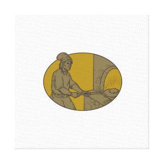 Impressão Em Tela Desenho oval do forno de madeira medieval da casca