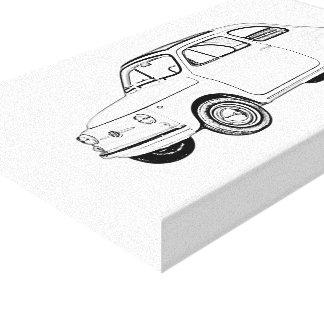 Impressão Em Tela Desenho preto e branco de Fiat 500 Topolino