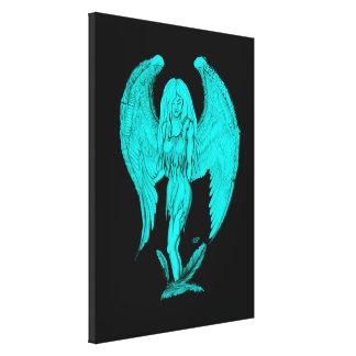 Impressão Em Tela Design do anjo, do preto e do verde