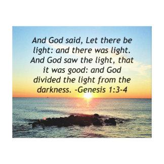 Impressão Em Tela Design sereno da bíblia do 1:3 da génese do nascer