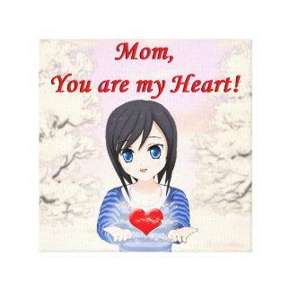Impressão Em Tela Dia das mães - mãe, você é meu coração