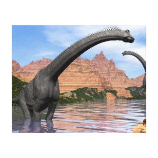 Impressão Em Tela Dinossauros do Brachiosaurus na água - 3D rendem