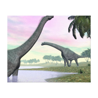 Impressão Em Tela Dinossauros do Brachiosaurus na natureza - 3D
