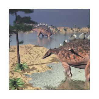Impressão Em Tela Dinossauros do Kentrosaurus no deserto - 3D rendem