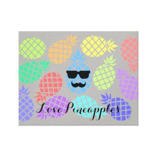"""Impressão Em Tela Do """"canvas coloridas dos abacaxis amor"""""""
