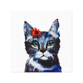 Impressão Em Tela Doce de fruta, o gato bonito que veste uma flor
