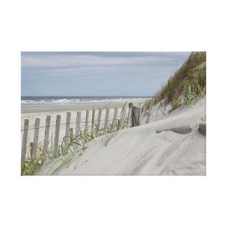 Impressão Em Tela Dunas resistidas da cerca e de areia na praia
