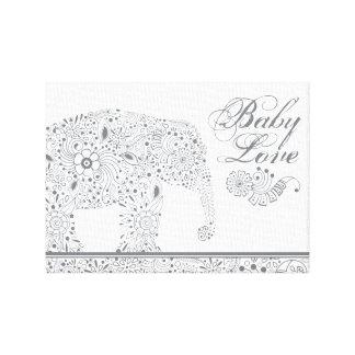 Impressão Em Tela Elefante cinzento do bebê de Mehndi