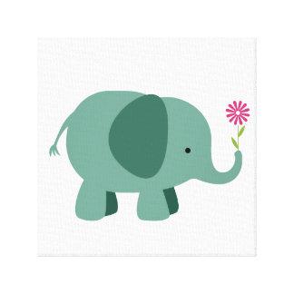 Impressão Em Tela Elefante com flor - arte da parede do berçário