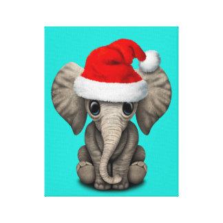 Impressão Em Tela Elefante do bebê que veste um chapéu do papai noel