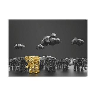 Impressão Em Tela Elefante Dourado