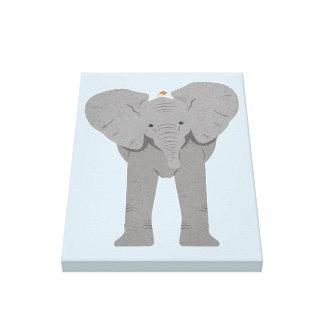 Impressão Em Tela elefante e pássaro
