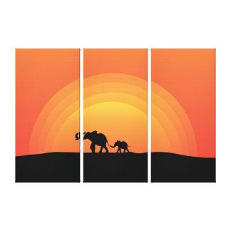 Impressão Em Tela Elefantes