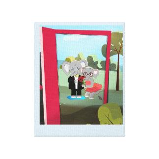 Impressão Em Tela Elefantes bonitos do bebê em uma entrada vermelha