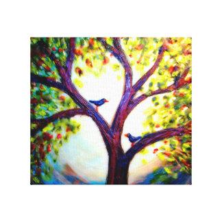 Impressão Em Tela Encere um PIC de 2 pássaros em uma árvore