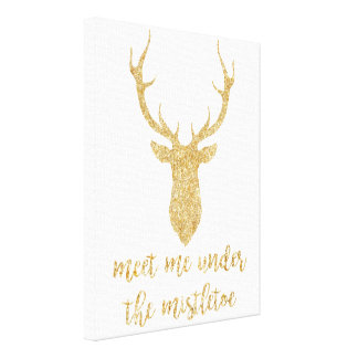 Impressão Em Tela Encontre-me sob o visco - cervo do Natal do ouro