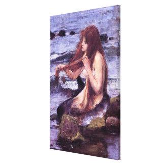 Impressão Em Tela Esboço para uma sereia pelo WaTERHOuSE de J W
