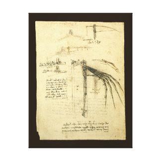 Impressão Em Tela Esboço voado da máquina de vôo por Leonardo da