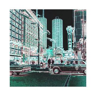 Impressão Em Tela Estado do teatro de Chicago e néon do teatro 1963