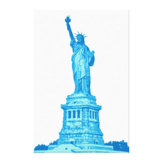 Impressão Em Tela Estátua da liberdade nas máscaras do azul