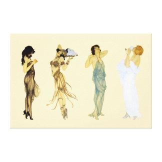 Impressão Em Tela Estilo retro de Nouveau da arte de quatro senhoras