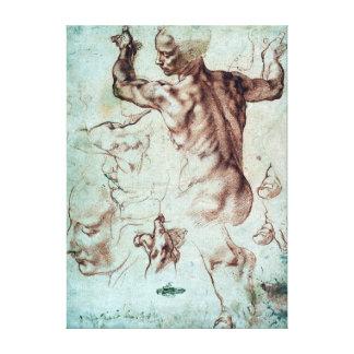Impressão Em Tela Estudos de Michelangelo Buonarroti para o Sibyl