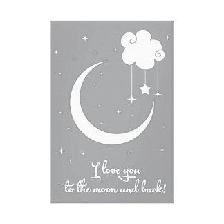 Impressão Em Tela Eu te amo à lua e à parte traseira - cinza