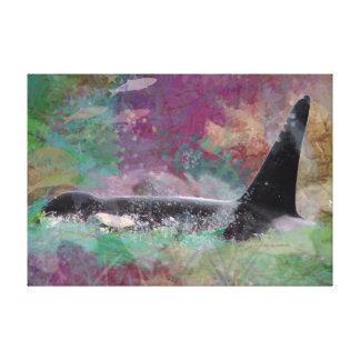 Impressão Em Tela Fantasia da baleia da orca: Baleia dos salmões e